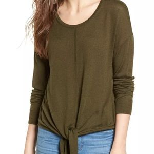 Madewell Modern Tie Front Long Sleeve Sweater